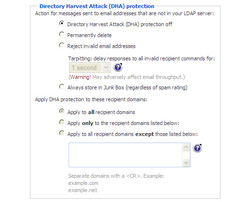 Directory Harvest Attack (DHA) Protection