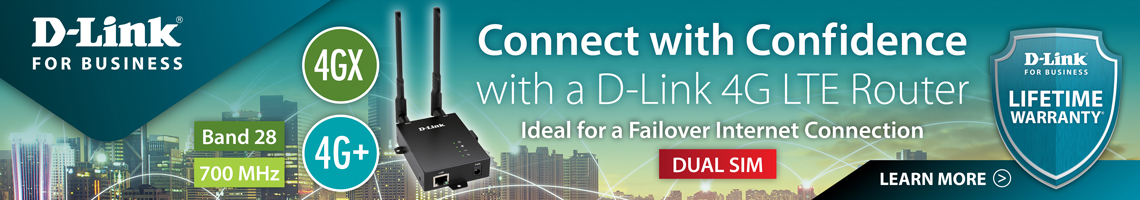 D-Link for Business - DWM-312 4G LTE Router - Connect with Confidence. Ideal for a Failover Internet Connection - Dual Sim, 4GX, 4G+, Band 28, 700 MHz. Learn More!
